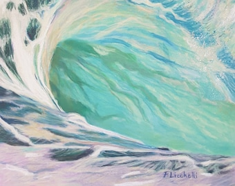 Sea wave, impressionist painting, original pastel drawing, lounge decoration, bedroom, living room, beach house wall art, one of a kind.