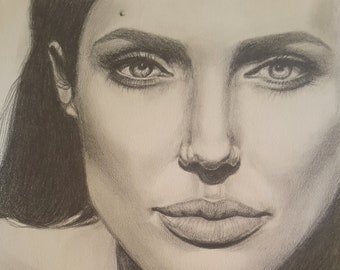 Angelina Jolie, photographic portrait, original drawing, OOAK, pencil on paper, 21x30 cm, 8x12 inc., gift for actress fan, famous woman.
