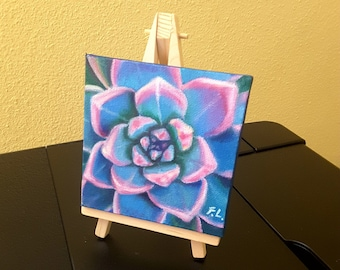 Blue succulent, tiny painting, oil on canvas with wooden easel, small picture, original mini canvas, thumbnail, table decoration, gift idea