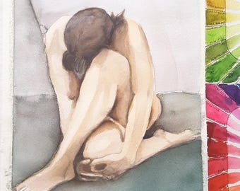 Nude, woman with crossed legs, original watercolor by Francesca Licchelli, gift idea for man, boudoir decoration, bedroom decor, wall art.