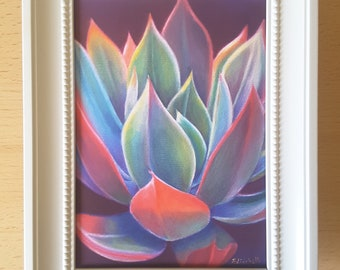 Succulent, ready tipo gift, small painting, shabby chic framed picture, bedroom decoraton, living room, lounge, office, kitchen, wall art.
