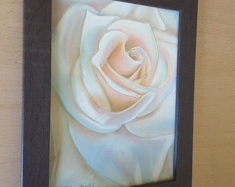Rose drawing, original pastel, ooak, soft pastels on paper, gift idea for mom and grandma, wall art, bedroom, contemporary home decoration.