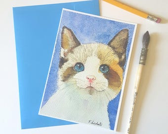 Giclèe print, kitten, A6, original painting, watercolor, wall decoration, home, office art, greetings card, small illustration, tiny picture