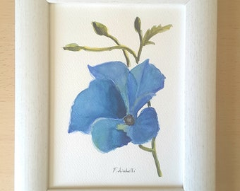 Alyogyne flower, original watercolor, botanical illustration, ooak, 15 x 20 cm, mini painting, gift idea, wall art, traditional home decor.