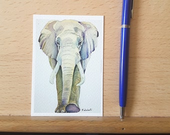 Elephant, Aceo print, wild animals lovers, Savannah, collection art card, small greetings card, dedication, little artwork, giclèe fine art.
