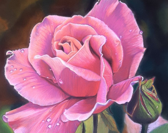 Featured listing image: Pink rose, original pastel painting by Francesca Licchelli, home office decoration, bedroom, romantic gift idea for her, lounge decor, art.