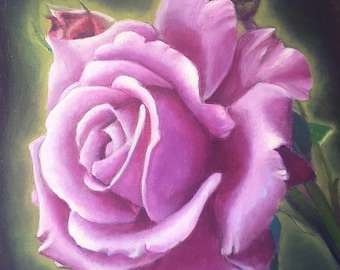 Purple rose, original oil painting by Francesca Licchelli, bedroom decoration, traditional picture, romantic gift fir her, wall art, lounge.