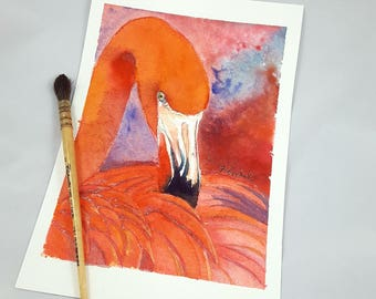 Red Flamingo, original watercolor, tropical bird portrait, ooak, baby shower gift idea, baptism, birth, home office decoration, nursery art.