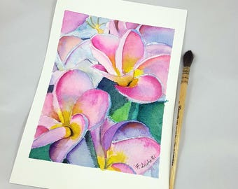 Pink Plumeria, original watercolor, frangipani flower, ooak, wife birthday gift idea, present for girl, wall decoration, romantic picture.