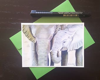 Elephants, mom and her puppy, greetings card, tiny painting, dedication for special occasion, new born, baptism, first communion, wall art.
