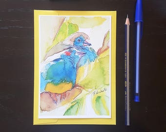 Greetings card, birds in love, A6, giclee fine art print, original painting, gift idea for birds lovers, traditional decor, dedication.