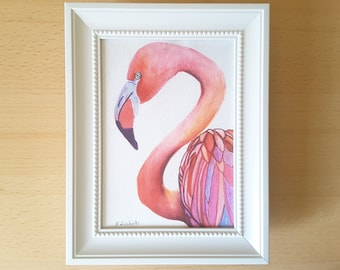 Flamingo, picture with frame, original painting, nursery decoration, girls bedroom, baby girl gift idea, Baptism present, framed prints, art