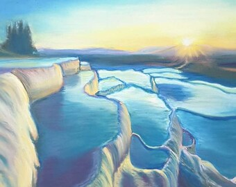 Original pastel, Pamukkale, sunset Seascape, OOAK, Turkey Landscape, soft pastels drawing, gift idea for him, home office decoration, art.