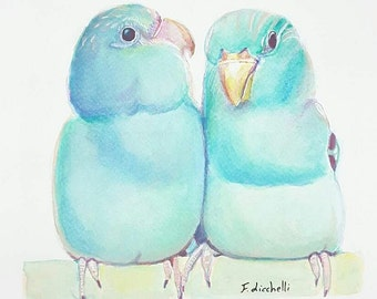 Blue birds, watercolor, original painting, OOAK, home office decoration, contemporary art, baby shower gift idea, nursery wall decore.