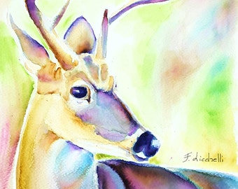Watercolor, colored deer, wild animal, original artwork by Francesca Licchelli, gift idea for boys and children, child's bedroom, nursery.