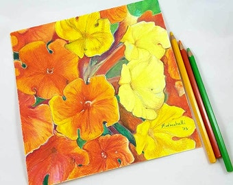 Floral painting, orange, yelllow flowers, original artwork, colored pencils on paper, autumnal decor, Wall art, home decoration, Bedroom.