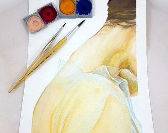 Detail, woman's neck, particular portrait, watercolor original painting, special gift idea, art collection, elegant picture, home decoration