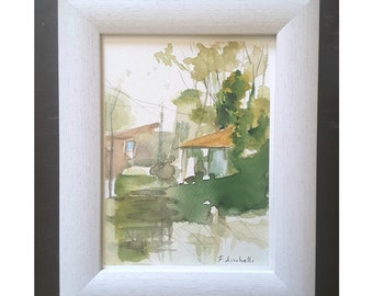 Watercolor with frame, landscape with houses and trees in the forest, copy of author, lounge, living room, office, studio decoration, decor.