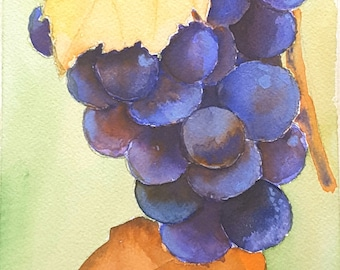 Watercolor with grapes and leaves, original painting by Francesca Licchelli, picture to hang on kitchen or restaurant wall, art gift idea.