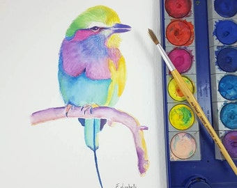 Colored parrot, original watercolor by Francesca Licchelli, gift idea for birthday, modern and traditional decor, home office decoration.