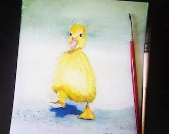 Chick, tender, original watercolor by Francesca Licchelli, newborn gift idea, baptism, grandson first birthday, nursery decor, baby shower.