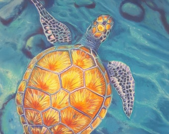 Turtle, pastel painting, original artwork by Francesca Licchelli, beach house decor idea, gift for sea lovers, snorkeling, office decoration