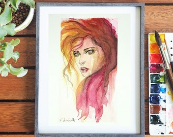 Portrait, watercolor, contemporary painting with frame, girl face, copy of author, gift idea, modern decor, wall art, home office decoration