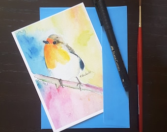 Geetings card depicting a robin on the branch, original watercolor by Francesca Licchelli, A6, giclee fine art print, mini painting, baptism