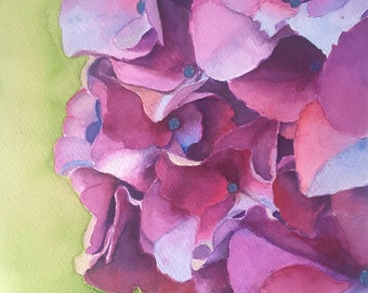 Hydrangea, original watercolor by Francesca Licchelli, purple and green, floral painting, romantic picture, bedroom decoration, wall art.