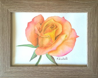 Rose, framed painting, tiny picture, gift idea for her birthday, romantic small image, ready to hang, bedroom or living room, watercolor.