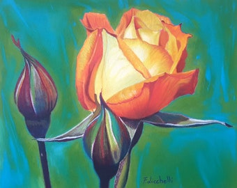 Orange, yellow rose, original painting by Francesca Licchelli, soft pastels on paper, bedroom decoration, gift idea for her, flowers image.