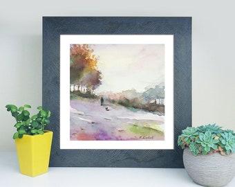 Autumn landscape, watercolor, copy of unknown artist, traditional and modern decore, home art, unusual, original gift idea for anniversary.
