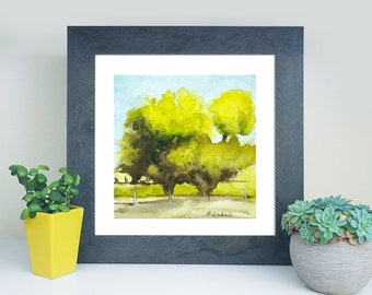 Green trees, watercolor, small traditional landscape con trees, square picture, copy of author, gift idea for men, home office decoration.