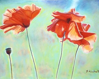 Poppies in the wind, giclée fine art print of original artwork, soft pastels on velvet paper, gift idea for her, home office decoration.