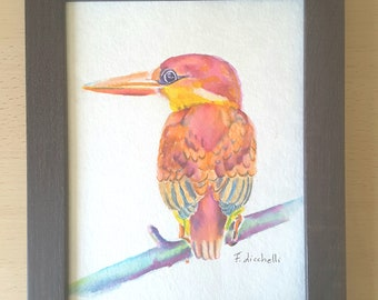 Red kingfisher, bird, original watercolor painting by Francesca Licchelli, ornithology lovers, brigth decoration for holiday home, wall art.