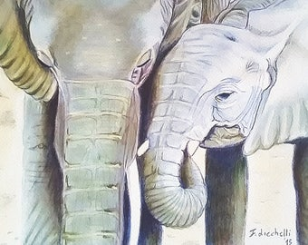 Walking elephants, mom and puppy, giclee fine art print of my original drawing, A4, gift idea for animals lover, children bedroom decoration