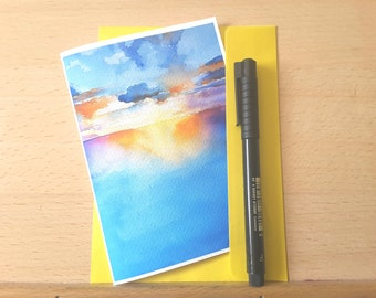 Greetings card, small masterpiece, landscape, sunset, mini painting, original watercolor, sea, dedicate for a special person, a memory.