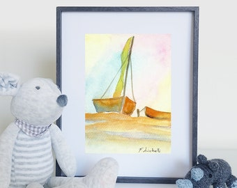 Watercolor, sail boat on sunset, small picture, copy of author, pastel colors, gift idea for sailors, boys bedroom decoration, nursery, art.