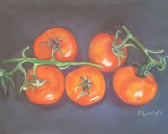 Tomatoes, original painting, pastel on paper, 10x7 inch., gift idea, kitchen decoration, new home inaipuguration, poor art, tavern decor.