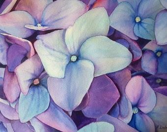 Hydrangea, purple watercolor, original painting by Francesca Licchelli, home office decoration, bedroom, lounge, living room, contemporary.