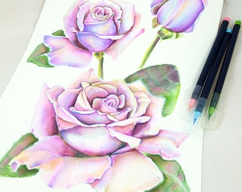 Watercolor with lillac roses, rosebud and twig, traditional picture, handmade painting, gift idea for her,  home office floral decoration.