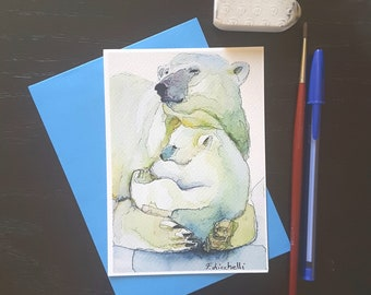 Small illustration depicting two polar bears, mom and son, greetings card, giclee fine art print, maternity, baby shower, birth, nursery.