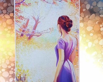 Print, woman, fall, original oil painting, A4, A5, woman with landscape who looking to the future, decoration idea for new, remodeling home.
