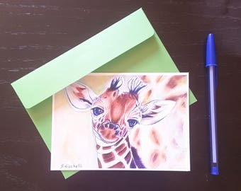Greetings card, giraffe, A6, giclèe fine art print, mini painting, animal picture, small nuersery decoration, dedication, first communion.