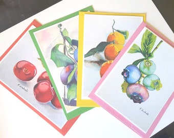 Greetings cards, fruits, watercolors, still life, giclèe fine art print, A6, original painting, mini painting, wall art collection, birthday