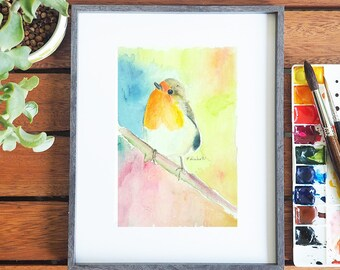 Little bird, original watercolor, portrait, ooak, gift idea for baptism or birth, wall art, home office decoration, nursery, child's bedroom