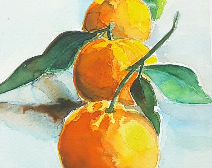 Featured listing image: Giclée fine art print, three tangerines, original watercolor artwork, gift idea for her, new kitchen, traditional restaurant, living room.