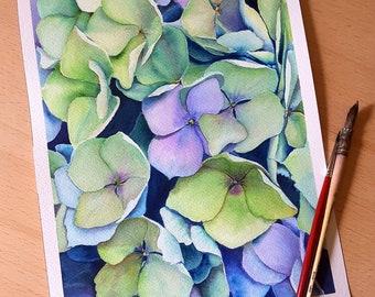 Purple and green hydrangea plant, original watercolor by Francesca Licchelli, romantic decoration, shabby chic style, birthday gift idea.