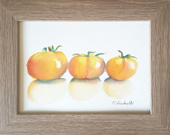 Tomatoes, framed watercolor, still life, kitchen decoration, new home, small present ready to hang, wall art, tavern decor, original piece.