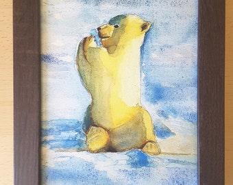 Baby polar bear, watercolor, print with frame, 9x12 inc., baptism gift idea, first birthday, new born, nursery decoration, tender wall art.